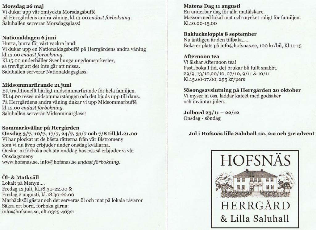 Hofsnäs evenemangskalender